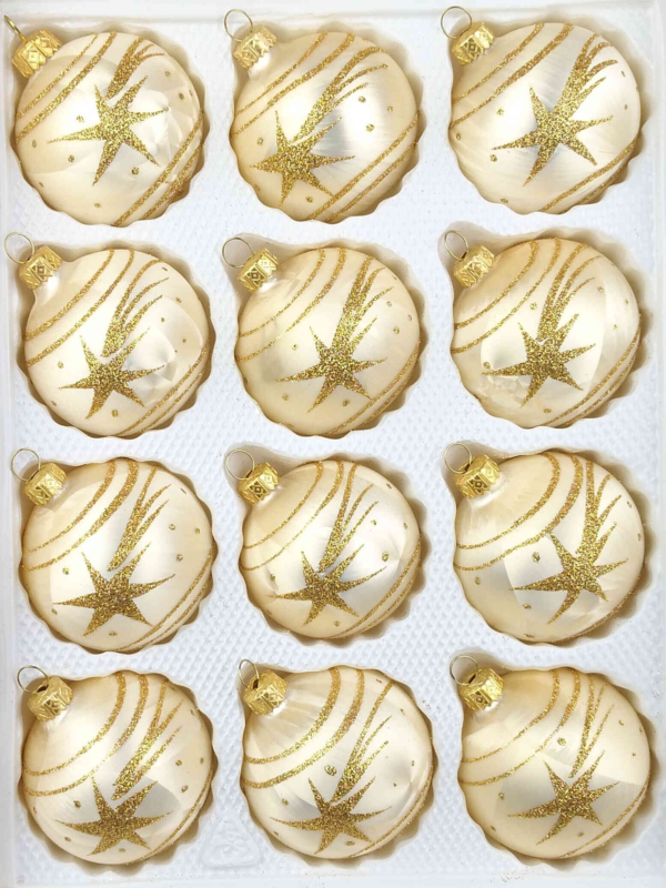 12 christmas balls ice champagne gold comet