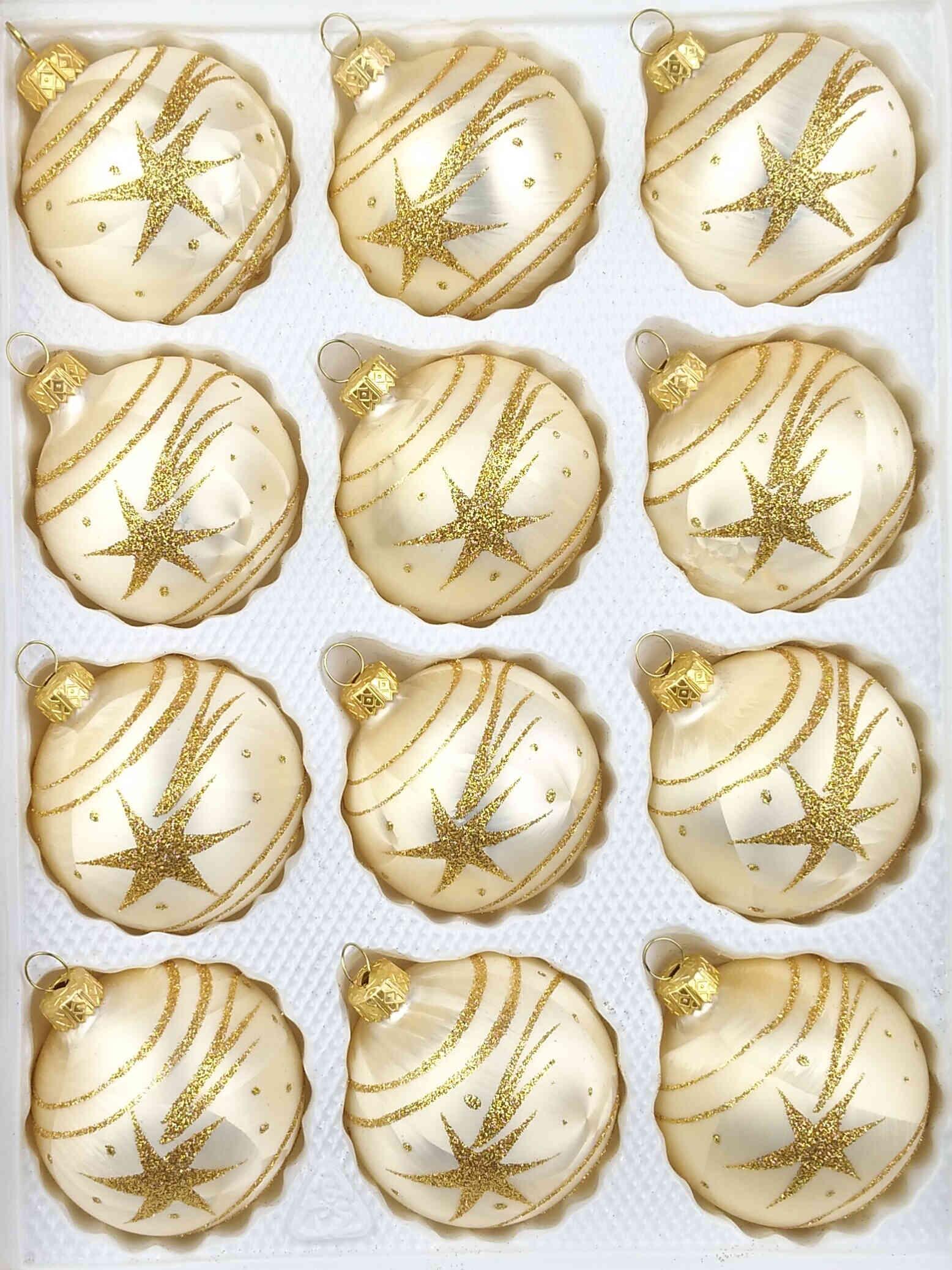 12 Handmade Christmas Ornaments Champagne Gold Comet Balls