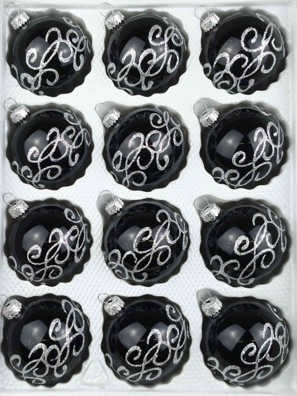 12 christmas balls black silver ornaments gothic