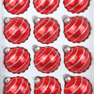 12 christmas balls candy red