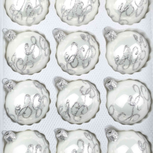 "A set of 12 handmade christmas ornaments in ""glossy white"" in a ball shape."