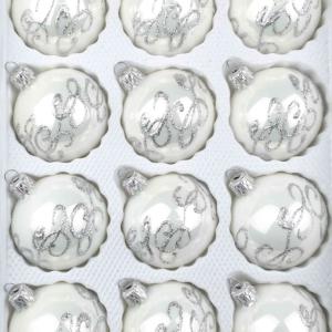 12 christmas balls white silver ornaments
