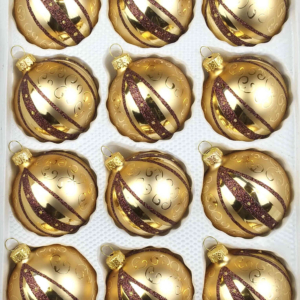 "A set of 12 handmade christmas ornaments in ""golden dream"" in a ball shape."