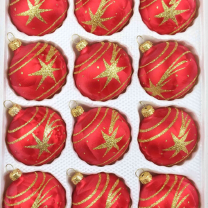 12 christmas balls ice red gold comet