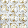 12 christmas balls ice white gold comet