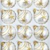 12 christmas balls ice white gold comet