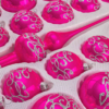 39 glossy pink silver ornaments detail