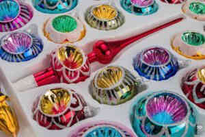 A detailed look on the set of 39 handmade christmas ornaments in