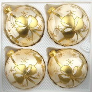 4 christmas balls ice champagne golden bow