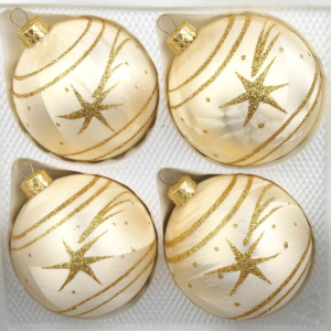 4 christmas balls ice champagne gold comet