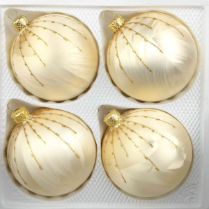 4 christmas balls ice champagne gold drops