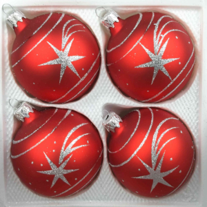 4 christmas balls classic red silver comet