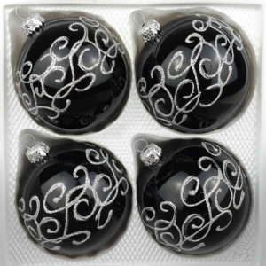 4 christmas balls black gothic silver ornaments