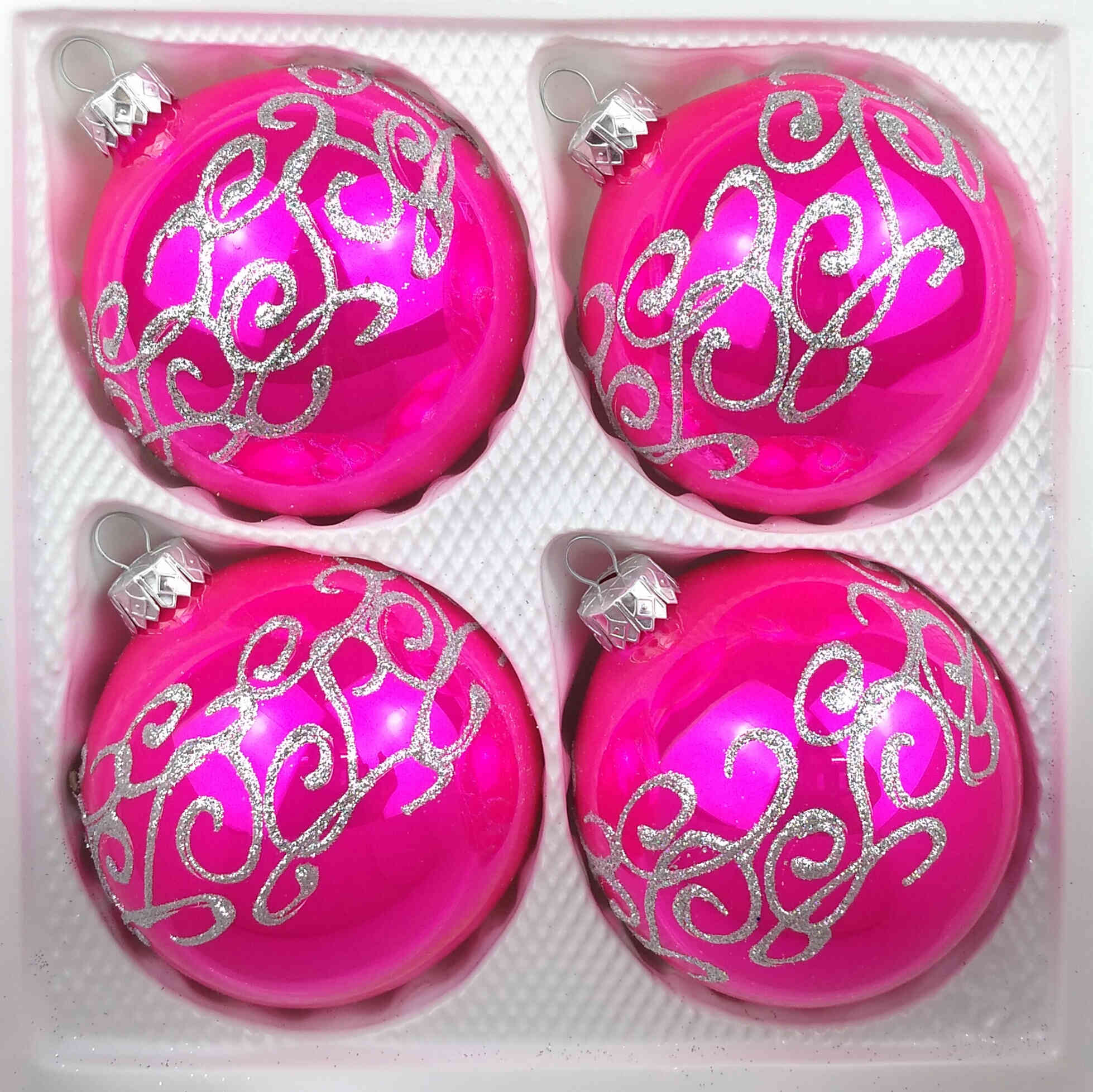4 Handmade Christmas Ornaments High Luster Pink Balls 3 15