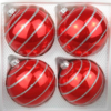 4 christmas balls candy red silver ornaments
