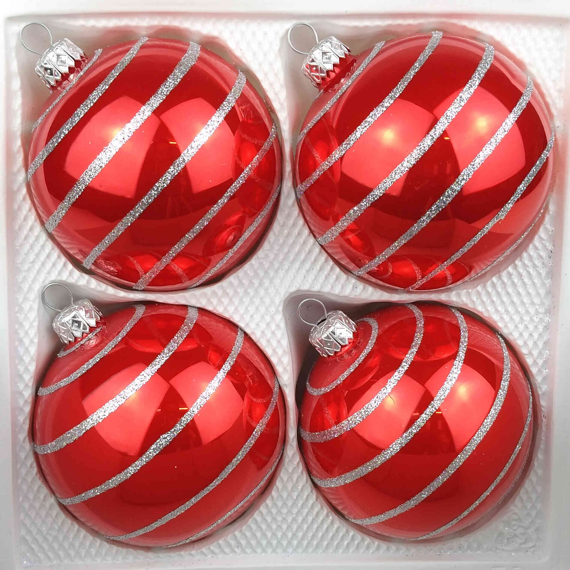 4 Handmade Christmas Ornaments Candy Red Silver Lines 3 15