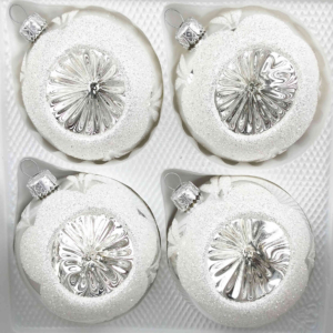4 christmas balls vintage silver