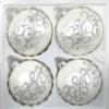 4 christmas balls white silver ornaments