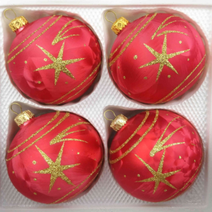 4 christmas balls ice red gold comet