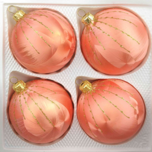 4 christmas balls ice salmon gold drops