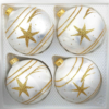 4 christmas balls ice white gold comet