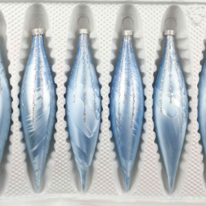 """A set of 6 handmade christmas ornaments in """"blue with silver drops"""" in a icycles shape."""