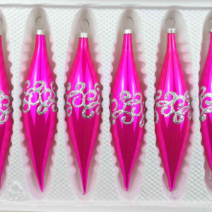 """A set of 6 handmade christmas ornaments in """"glossy pink"""" in a icycles shape."""