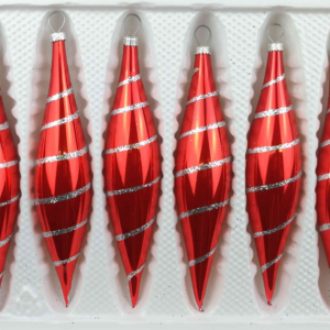 "A set of 6 handmade christmas ornaments in ""glossy red candy"" in a icycles shape."