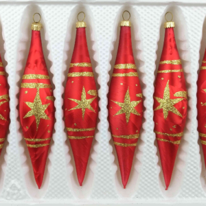 "A set of 6 handmade christmas ornaments in ""red with golden comets"" in a icycles shape."