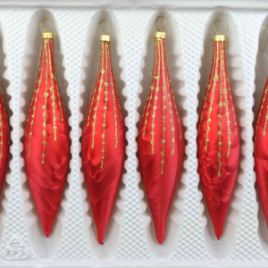 6 christmas icycles ice red gold drops