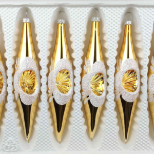 """A set of 6 handmade christmas ornaments in """"vintage gold"""" in a icycles shape."""