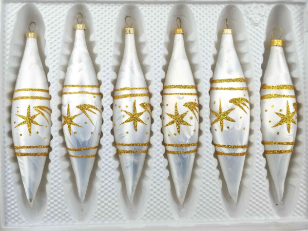 6 christmas icycles ice white gold comet
