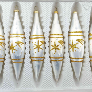 "A set of 6 handmade christmas ornaments in ""white with golden comets"" in a icycles shape."