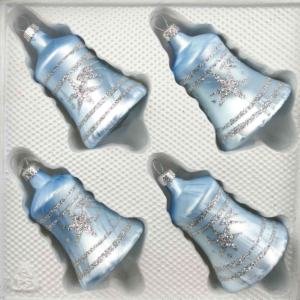 christmas ornaments bells ice blue silver comet