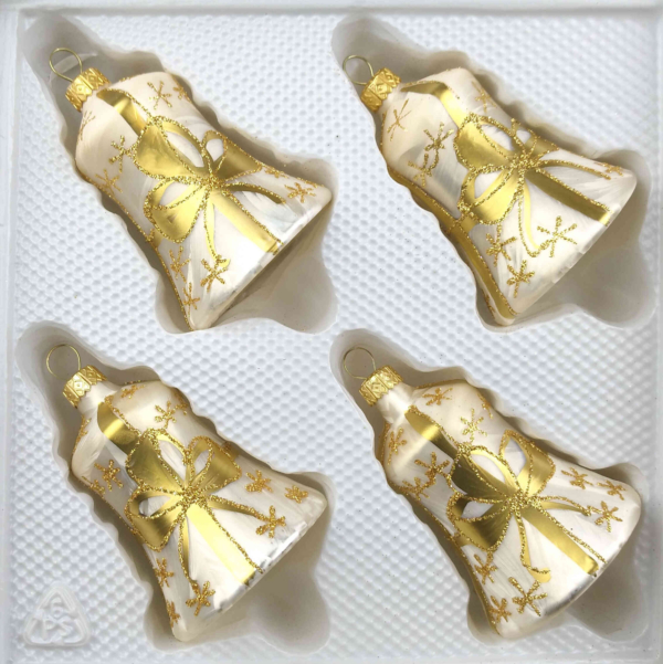christmas ornaments bells ice champagne golden bow