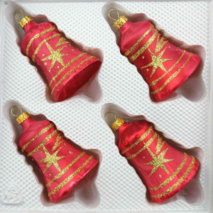 christmas ornaments bells ice red gold comet