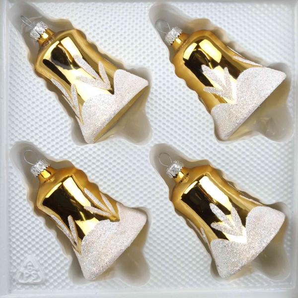 christmas ornaments bells vintage gold