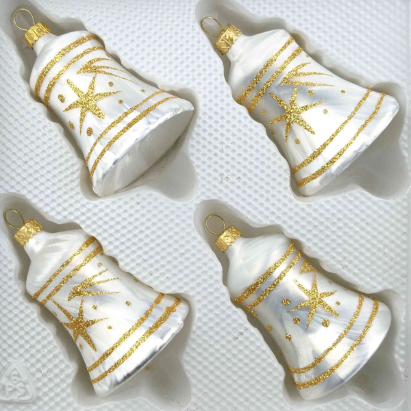 christmas ornaments bells ice white gold comet