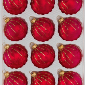 12 ice red gold drops christmas balls