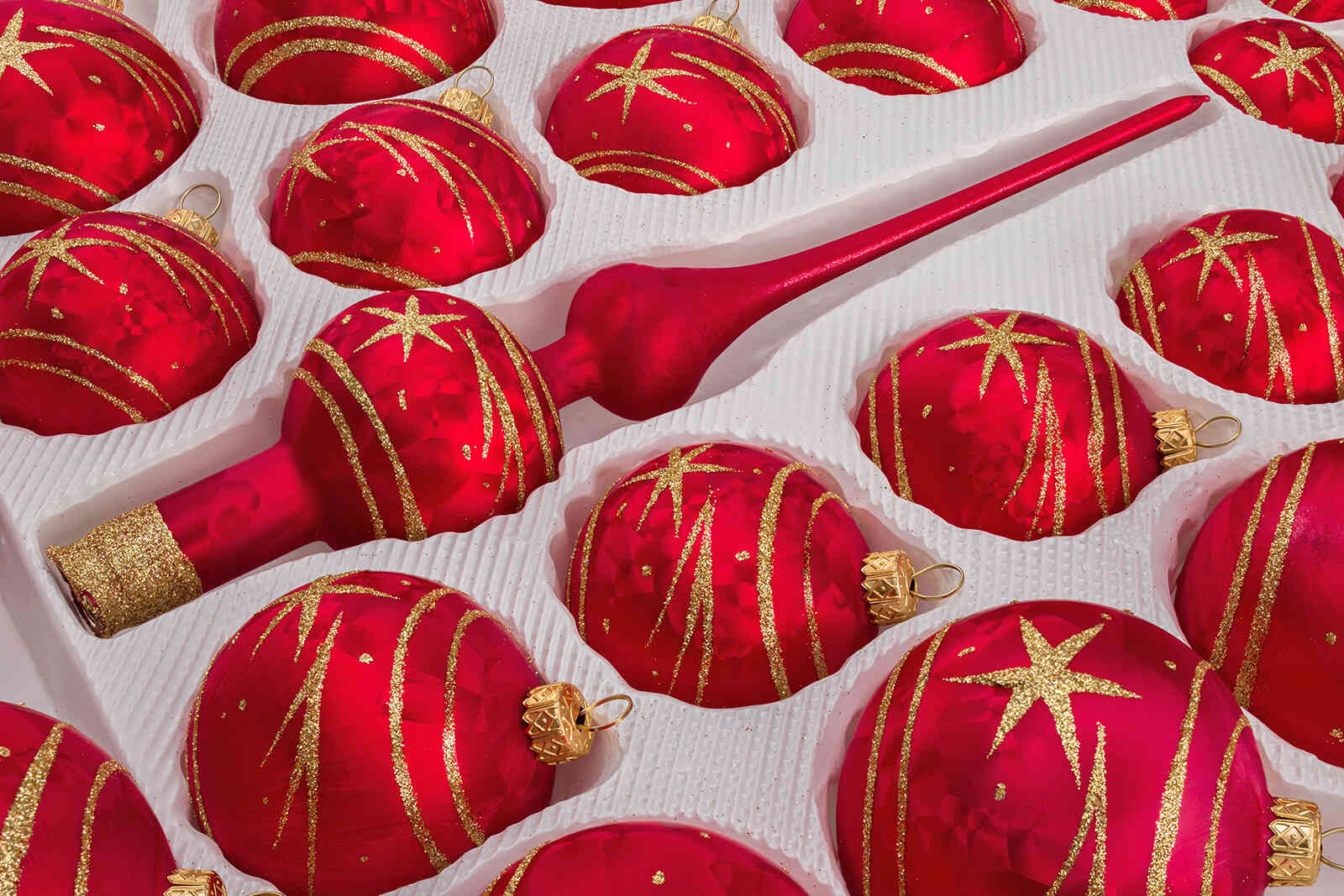 Weihnachtskugeln Rot Gold.39 Handmade Christmas Ornaments Red Gold Comet Set