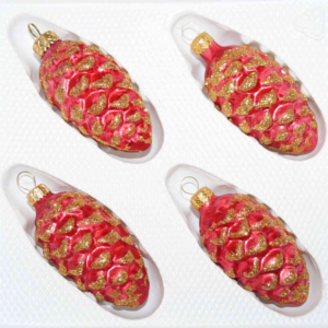 pinecones red gold christmas ornament