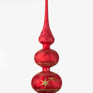 "One handmade christmas tree topper in ""red with golden comets""."