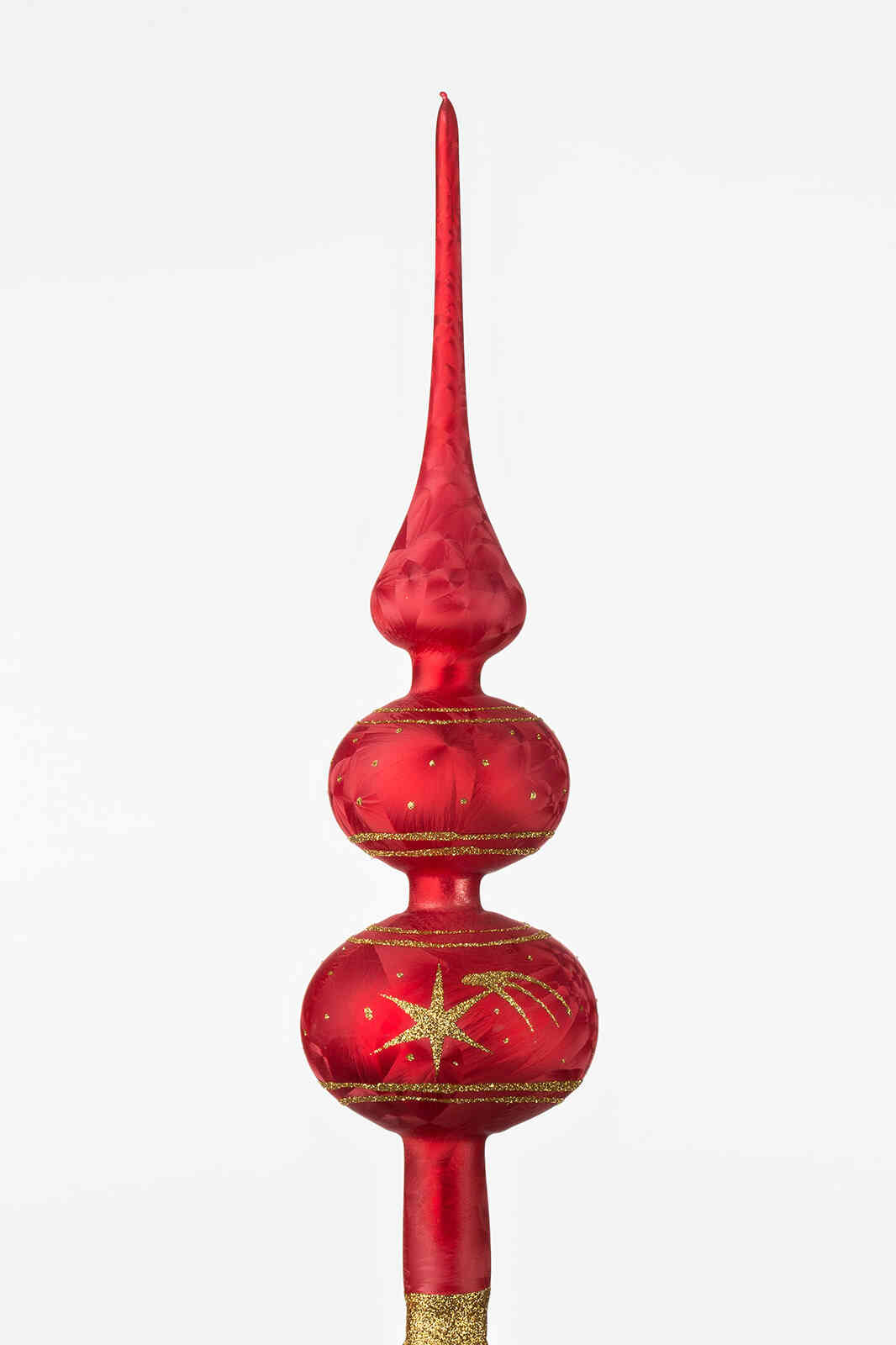 """One handmade christmas tree topper in """"red with golden comets""""."""