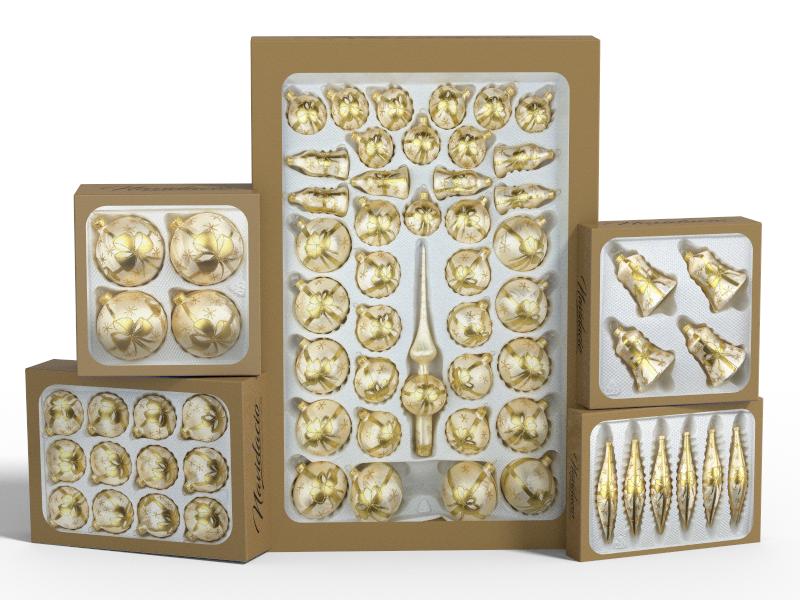 """Product collection of handmade christmas ornaments in """"champagne with golden bow""""."""