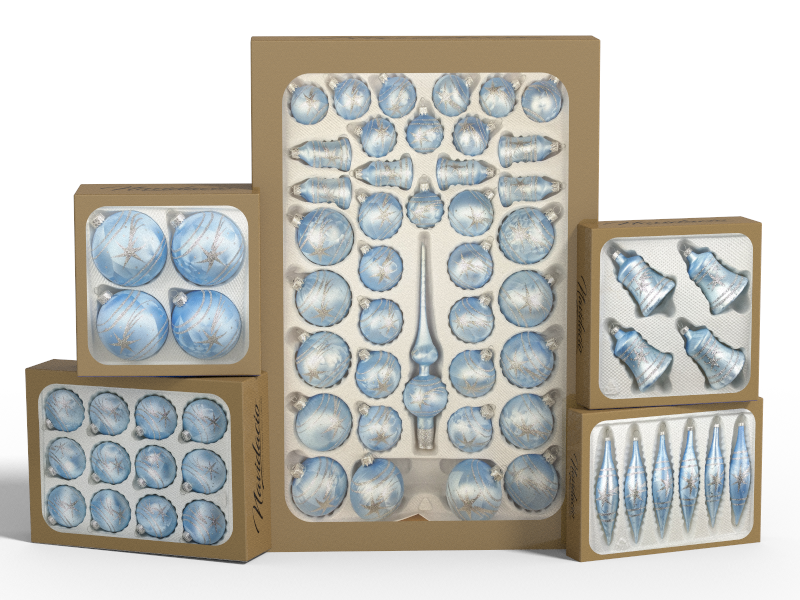 """Product collection of handmade christmas ornaments in """"blue with silver comets"""""""