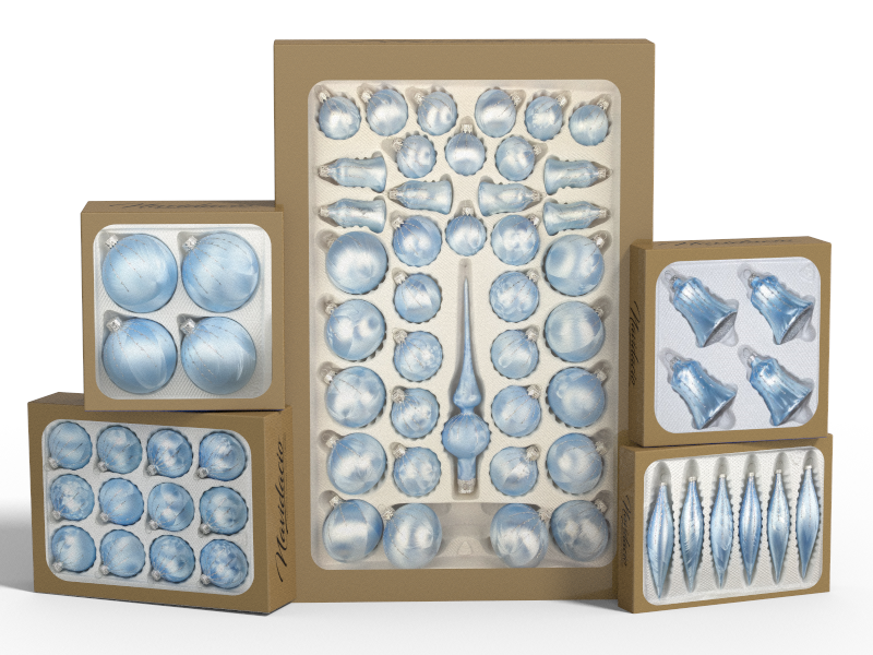 """Product collection of handmade christmas ornaments in """"blue silver"""""""