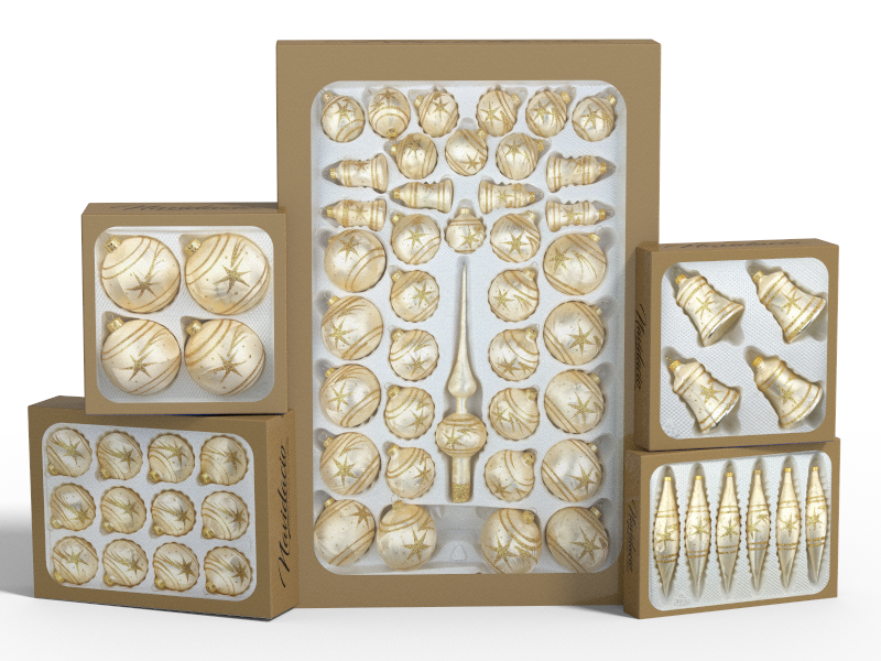 """Product collection of handmade christmas ornaments in """"champagne with golden comets"""""""