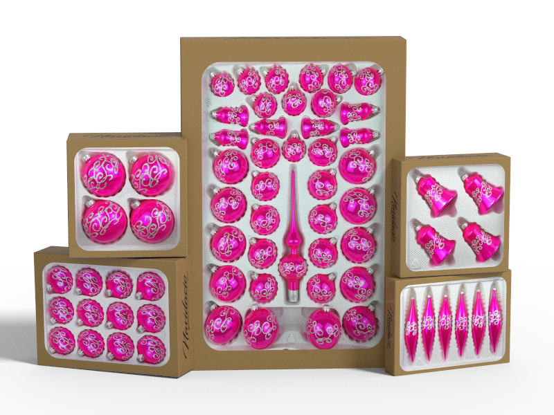 """Product collection of handmade christmas ornaments in """"glossy pink"""""""