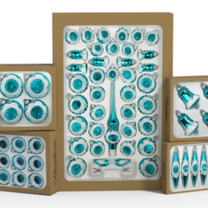 "Product collection of handmade christmas ornaments in ""glossy vintage turquoise""."