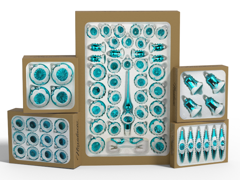 """Product collection of handmade christmas ornaments in """"glossy vintage turquoise""""."""
